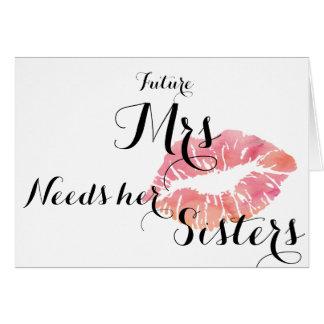 新婦付添人はカード-ピンクの接吻の合計のテンプレート--を頼みます カード