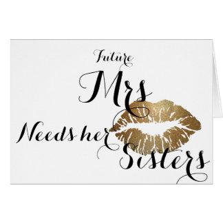 新婦付添人はカード-金ゴールドの接吻の合計のテンプレート--を頼みます カード
