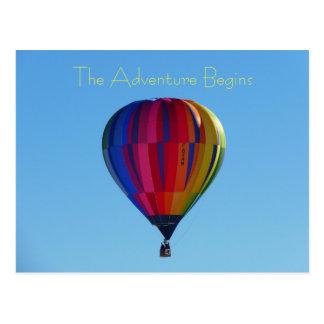 新学期の冒険の熱気の気球の郵便はがき ポストカード