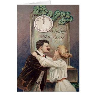 新年のキス4の葉のクローバーの時計 カード