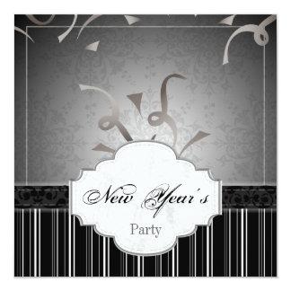 新年のパーティの招待状の白黒のダマスク織 13.3 スクエアインビテーションカード