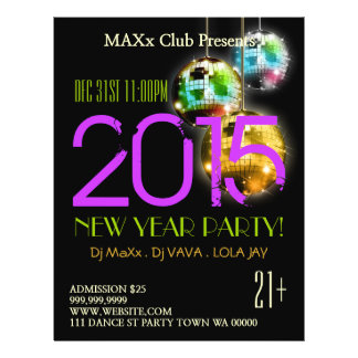 新年のパーティーのイベントの発表DJはフライヤを協力させます チラシ
