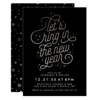新年のパーティーの招待の模造のな金ゴールドホイルのリング 12.7 X 17.8 インビテーションカード
