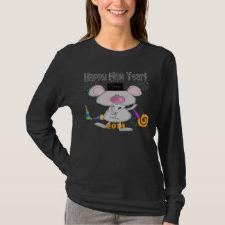 新年のマウスの女性の長袖のTシャツ Tシャツ