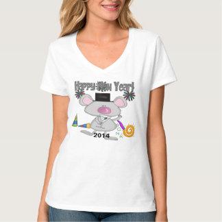 新年のマウスの女性のTシャツ Tシャツ