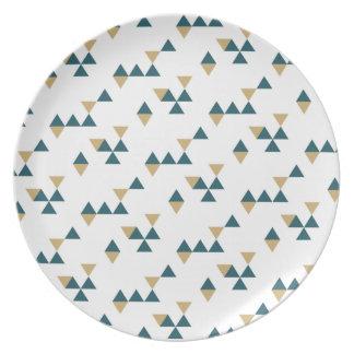 新年の幾何学的なディナー用大皿-青 パーティー皿