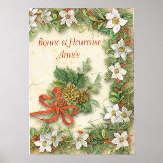 新年の挨拶、フランス語 ポスター