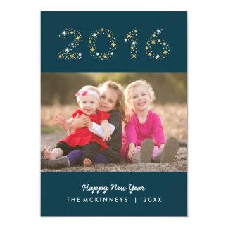 新年の輝きの明けましておめでとうの休日の写真カード カード