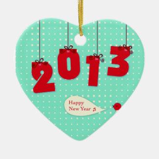 """新年2013年""""新年""""のさようなら2012年のユニークな喜び セラミックオーナメント"""