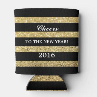 新年2016年へのグリッターの金ゴールド|の応援 缶クーラー