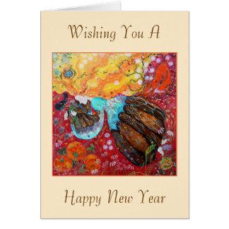 新年。 年の女性そして季節 カード