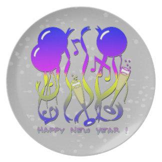 新年-気球、吹流し、シャンペンガラス プレート
