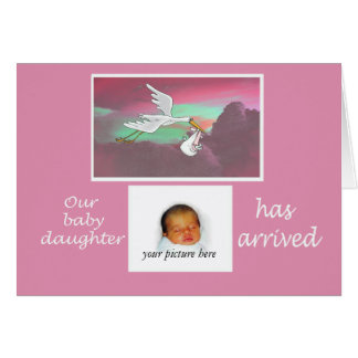 新生児の到着の発表、こうのとり、カスタム・カード カード