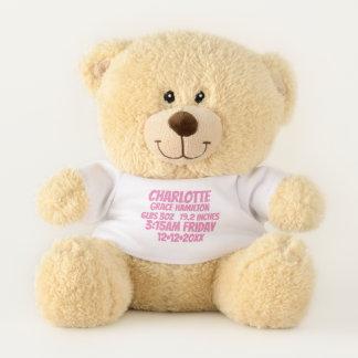 新生児の名前入りな誕生情報(ピンク) テディベア