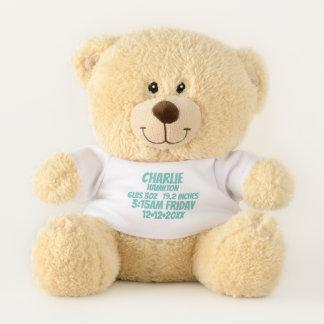 新生児の名前入りな誕生情報(緑) テディベア