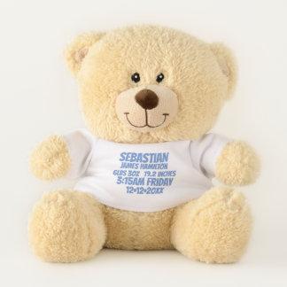 新生児の名前入りな誕生情報(青い) テディベア