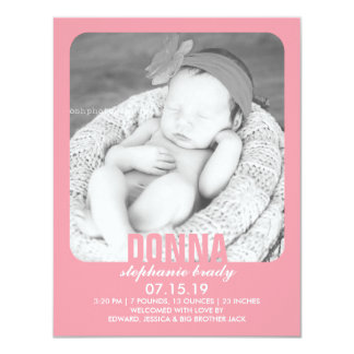 新生児の女の子の写真の平らな発表 カード