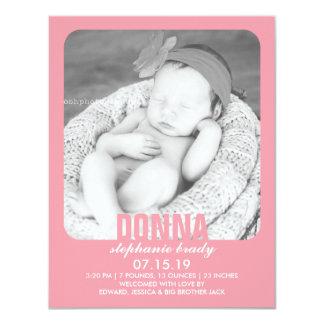 新生児の女の子の写真の平らな発表 10.8 X 14 インビテーションカード