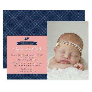 新生児の女の子の発表かサンキューカード カード