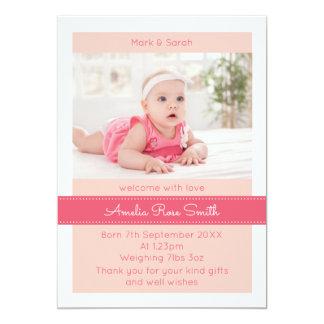 新生児の女の子の発表かサンキューカード 12.7 X 17.8 インビテーションカード