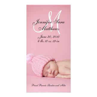新生児の女の子の誕生の発表の写真カード カード
