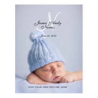 新生児の男の子の発表の写真の郵便はがき ポストカード