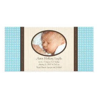 新生児の男の子パターンベビーの誕生の写真カード カード