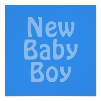 新生児の男の子。 青い ポスター