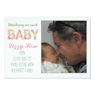 新生児の花柄の発表 カード