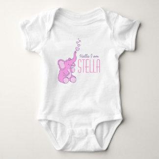 新生児象の歓迎の女の子の一流のワイシャツ ベビーボディスーツ