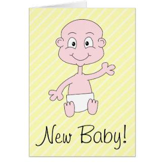 新生児! かわいいベビーの振ること。 黄色い縞 カード