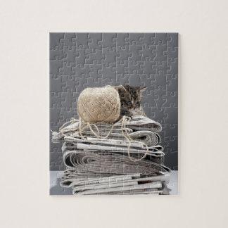 新聞の山に坐っている子ネコ ジグソーパズル