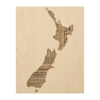 新聞パターン(の模様が)あるなニュージーランドの国|木 ウッドウォールアート