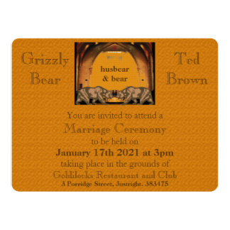 新郎のためのカリフォルニアくまの陽気な結婚式招待状 カード