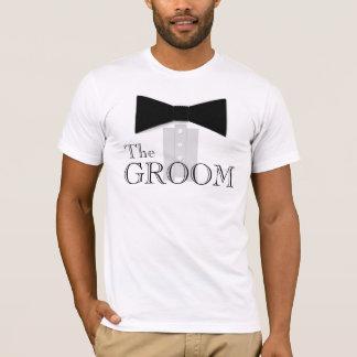 新郎のちょうネクタイのワイシャツ Tシャツ