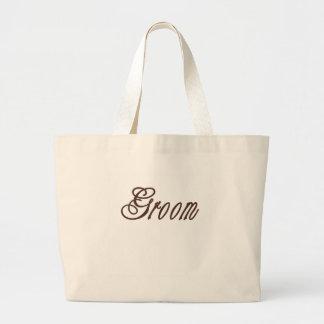 新郎の上品な茶色 ラージトートバッグ