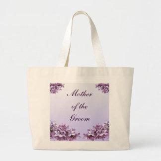 新郎の母を結婚する花の薄紫の花 ラージトートバッグ