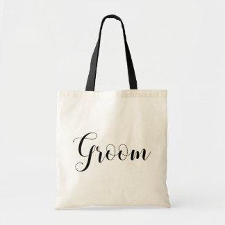 新郎の白黒バッグ。 モダンな結婚式の引き出物 トートバッグ