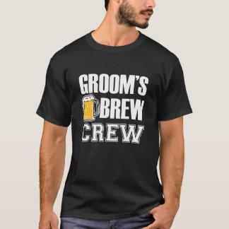 新郎の醸造物の乗組員のおもしろいな花婿の付添人ビール Tシャツ