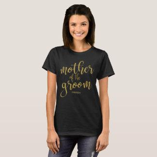 新郎の金ゴールドのグリッターのブライダルパーティのティーの母 Tシャツ
