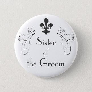 新郎ボタンの装飾的な(紋章の)フラ・ダ・リの姉妹 5.7CM 丸型バッジ
