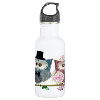 新郎新婦のかわいいフクロウの芸術 ウォーターボトル