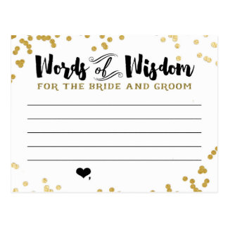 新郎新婦のための金属金ゴールドのアドバイスカード ポストカード