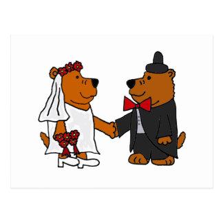新郎新婦のヒグマを結婚するおもしろい ポストカード