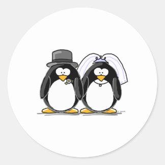 新郎新婦のペンギン ラウンドシール