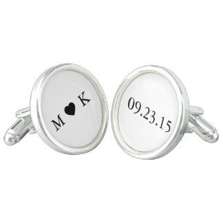 新郎新婦のモノグラム-シンプルでエレガントな結婚式 カフボタン