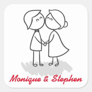 新郎新婦の名前入りな結婚式のステッカー スクエアシール