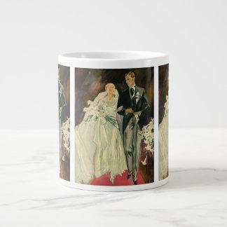 新郎新婦の新婚者を結婚するヴィンテージのアールデコ ジャンボコーヒーマグカップ