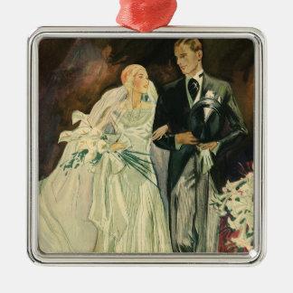 新郎新婦の新婚者を結婚するヴィンテージのアールデコ メタルオーナメント