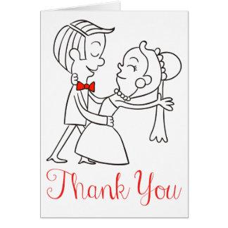 新郎新婦の白黒結婚式ありがとう カード